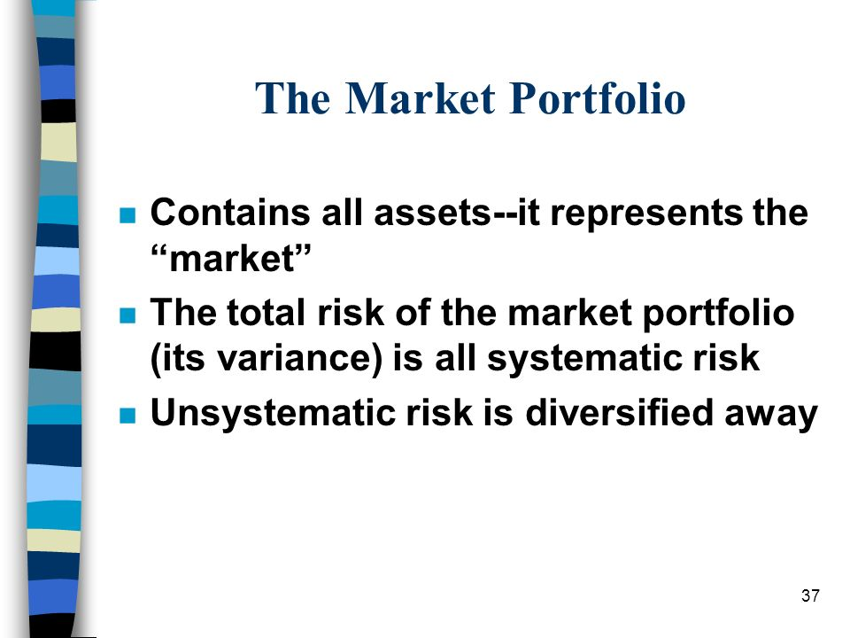 The Market Portfolio Contains all assets--it represents the market