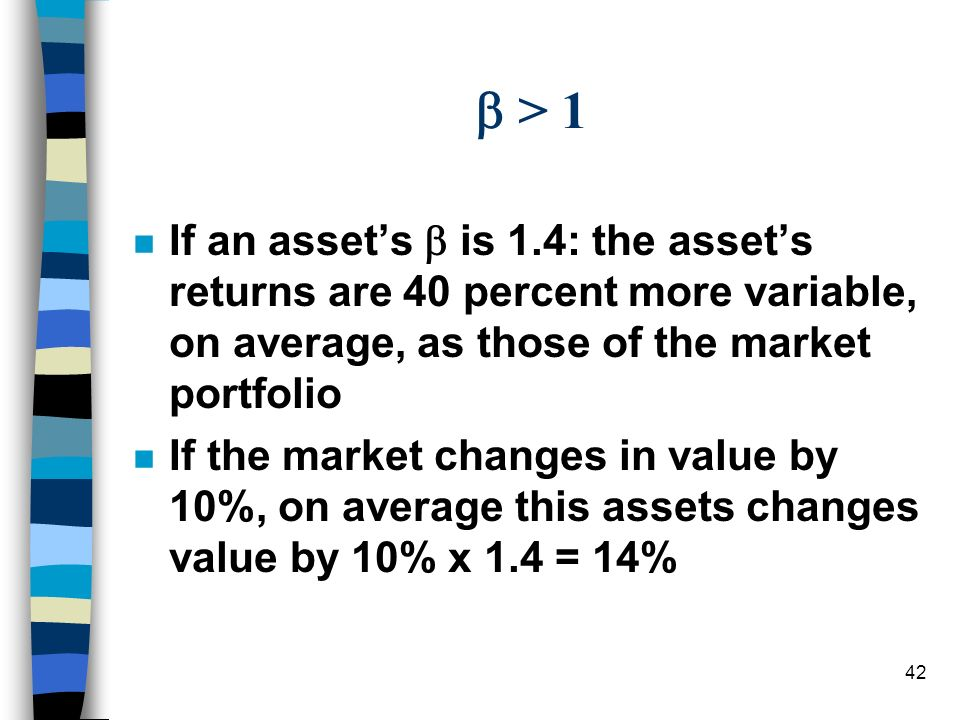  > 1 If an asset's  is 1.4: the asset's returns are 40 percent more variable, on average, as those of the market portfolio.