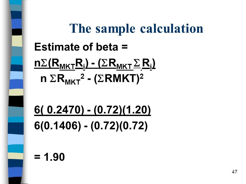 The sample calculation