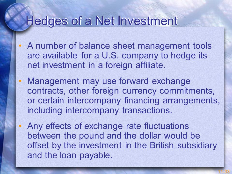 Hedges of a Net Investment