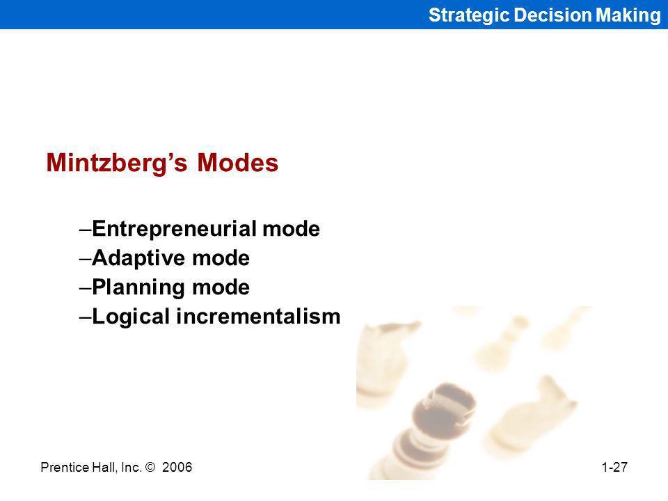Mintzberg's Modes Entrepreneurial mode Adaptive mode Planning mode