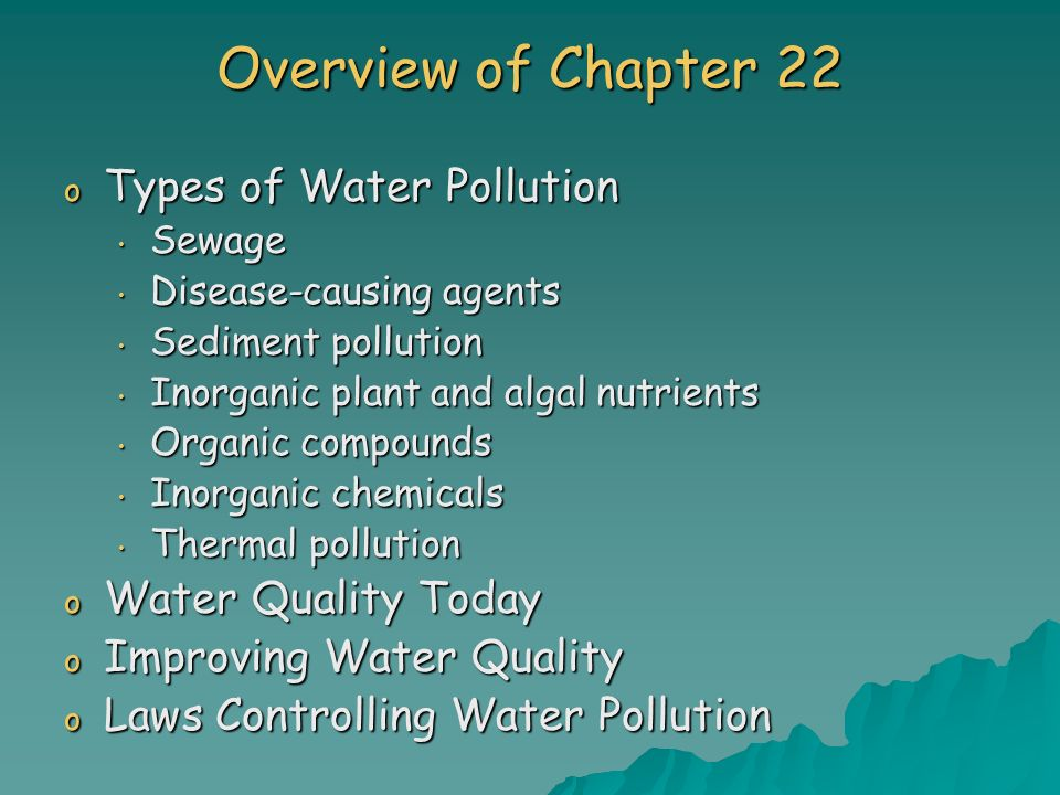 inorganic chemicals cause water pollution Learn the basics about water pollution, whilst learning about environmental chemistry the substances mankind throws away have polluted lakes, rivers and even the oceans.