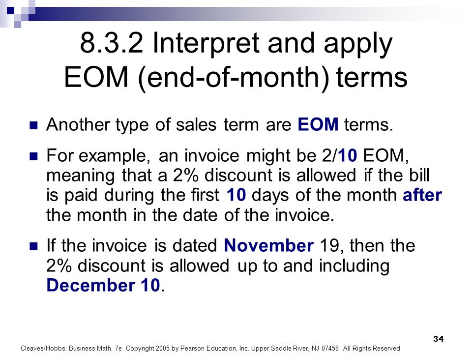 8.3.2 Interpret and apply EOM (end-of-month) terms