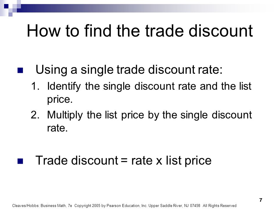 How to find the trade discount