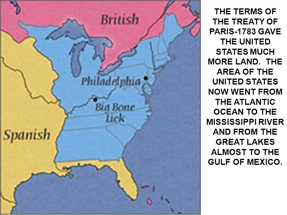 Map Of The Us After The Treaty Of Paris Globalinterco - Map of us land treaties