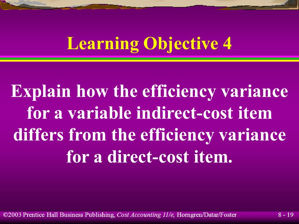 Explain how the efficiency variance for a variable indirect-cost item