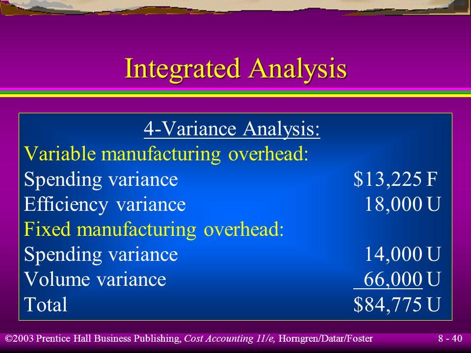 Integrated Analysis 4-Variance Analysis: