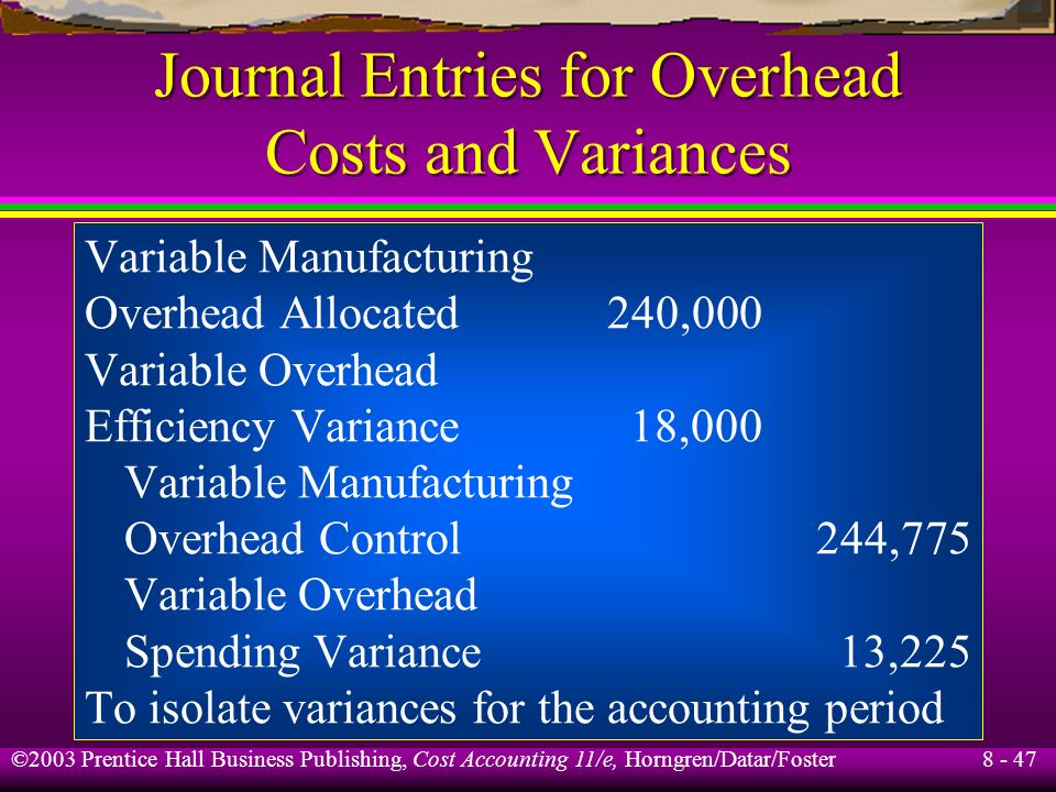 Journal Entries for Overhead Costs and Variances