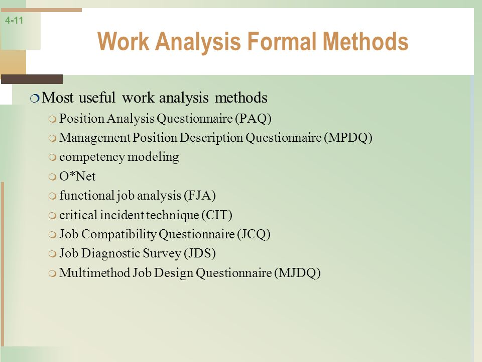 Work Analysis Formal Methods