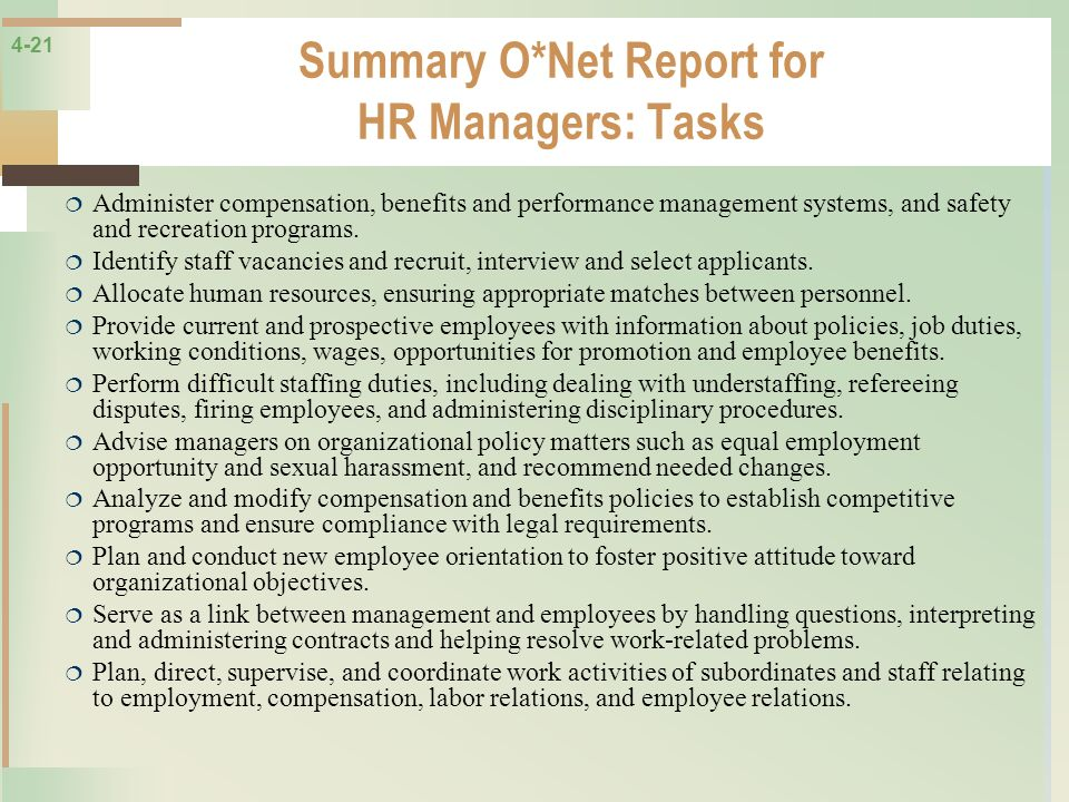Summary O*Net Report for HR Managers: Tasks