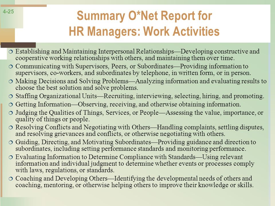 Summary O*Net Report for HR Managers: Work Activities
