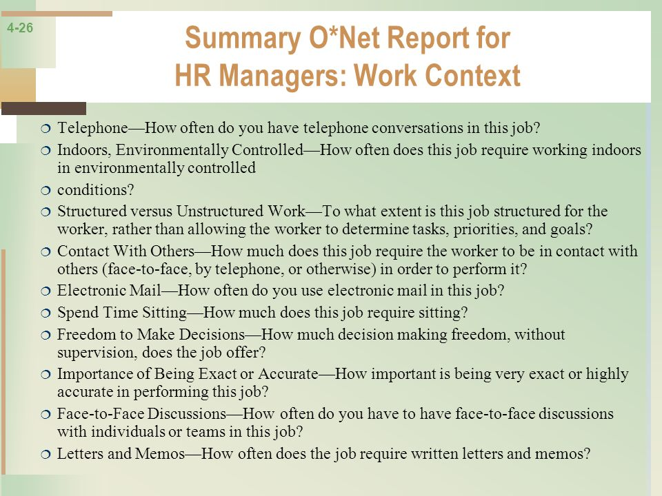 Summary O*Net Report for HR Managers: Work Context
