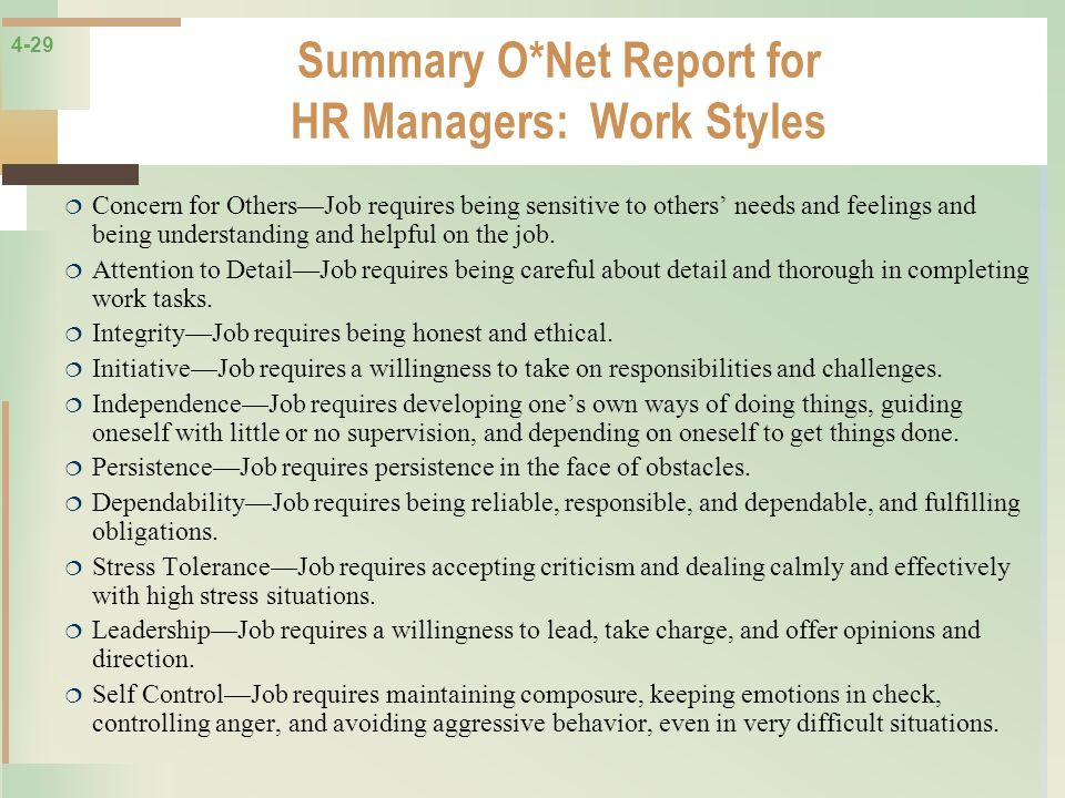 Summary O*Net Report for HR Managers: Work Styles