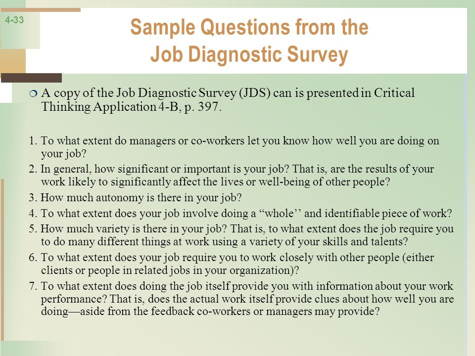 Sample Questions from the Job Diagnostic Survey