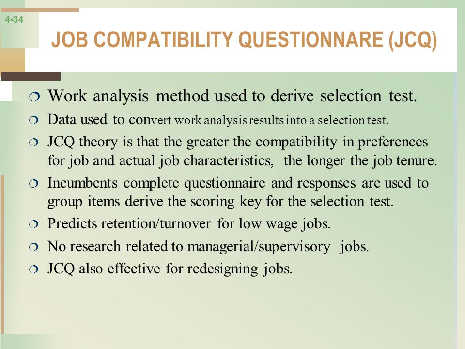 JOB COMPATIBILITY QUESTIONNARE (JCQ)