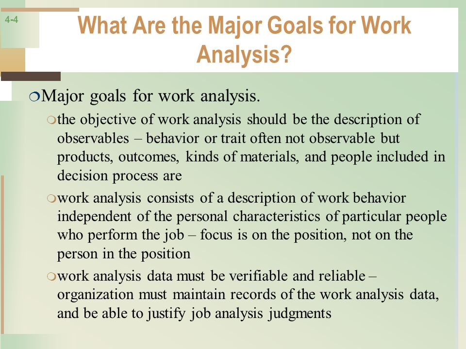What Are the Major Goals for Work Analysis