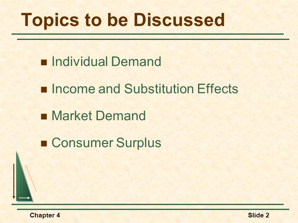 Topics to be Discussed Individual Demand