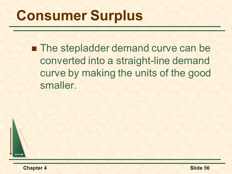 Consumer Surplus The stepladder demand curve can be converted into a straight-line demand curve by making the units of the good smaller.
