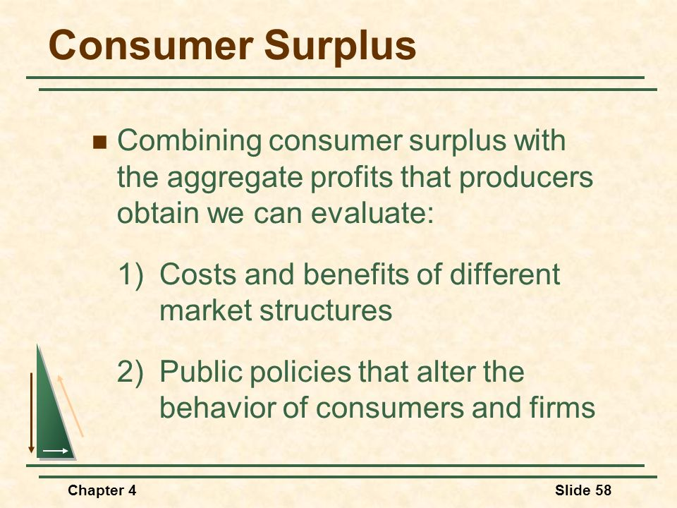 Consumer Surplus Combining consumer surplus with the aggregate profits that producers obtain we can evaluate: