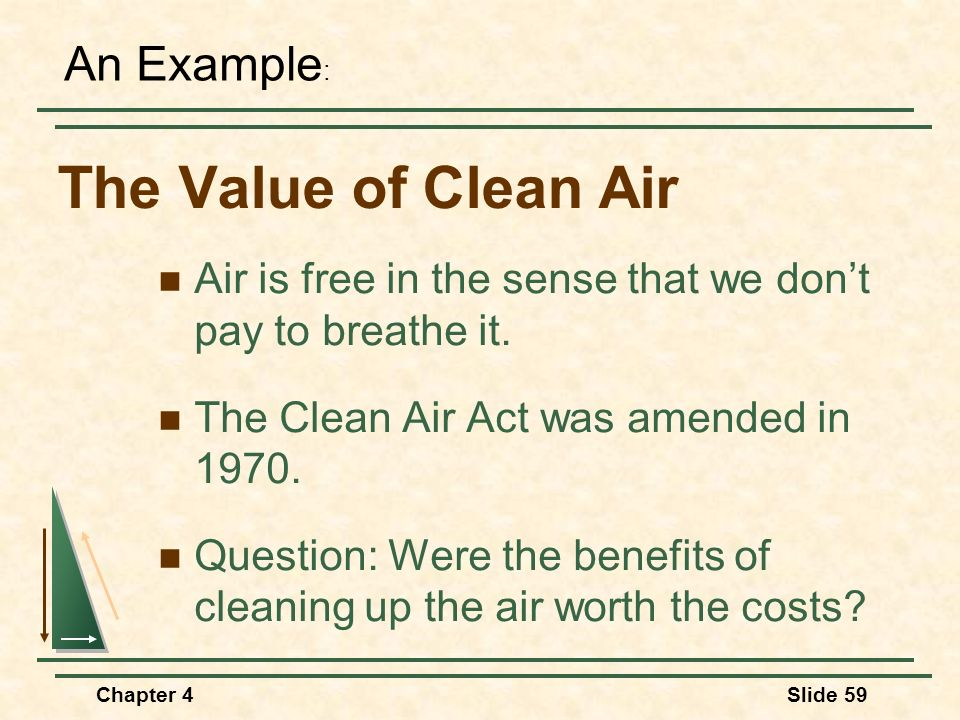 The Value of Clean Air An Example: