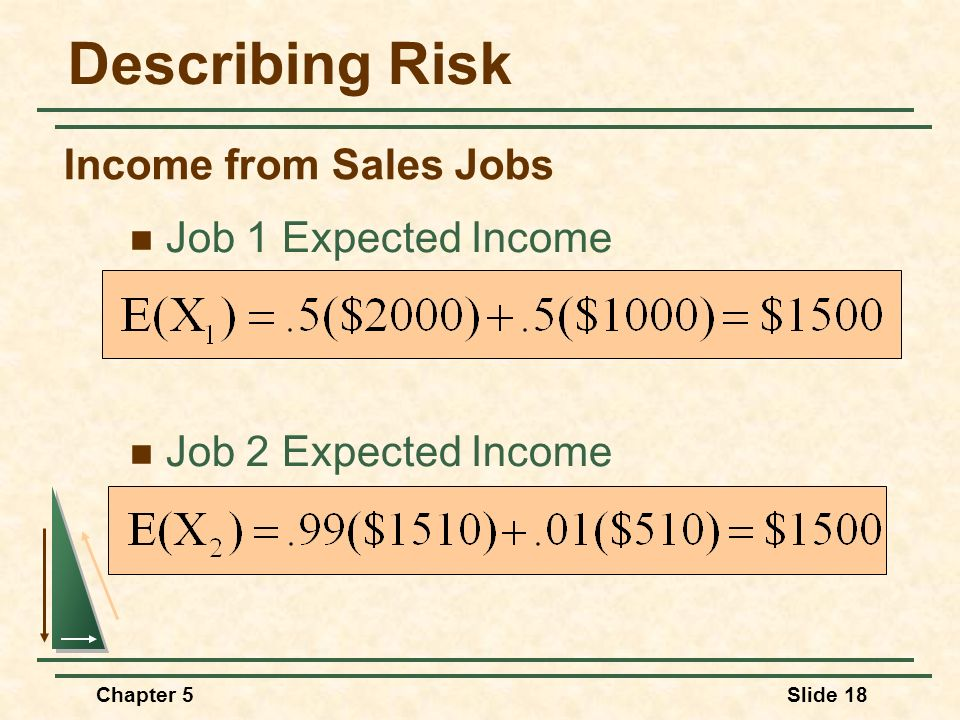 Describing Risk Income from Sales Jobs Job 1 Expected Income