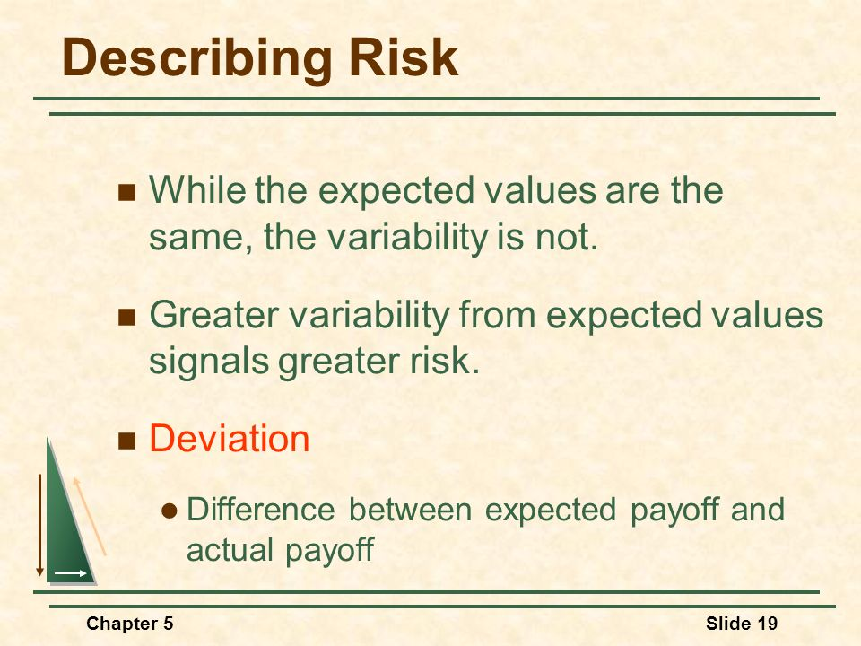 Describing Risk While the expected values are the same, the variability is not. Greater variability from expected values signals greater risk.