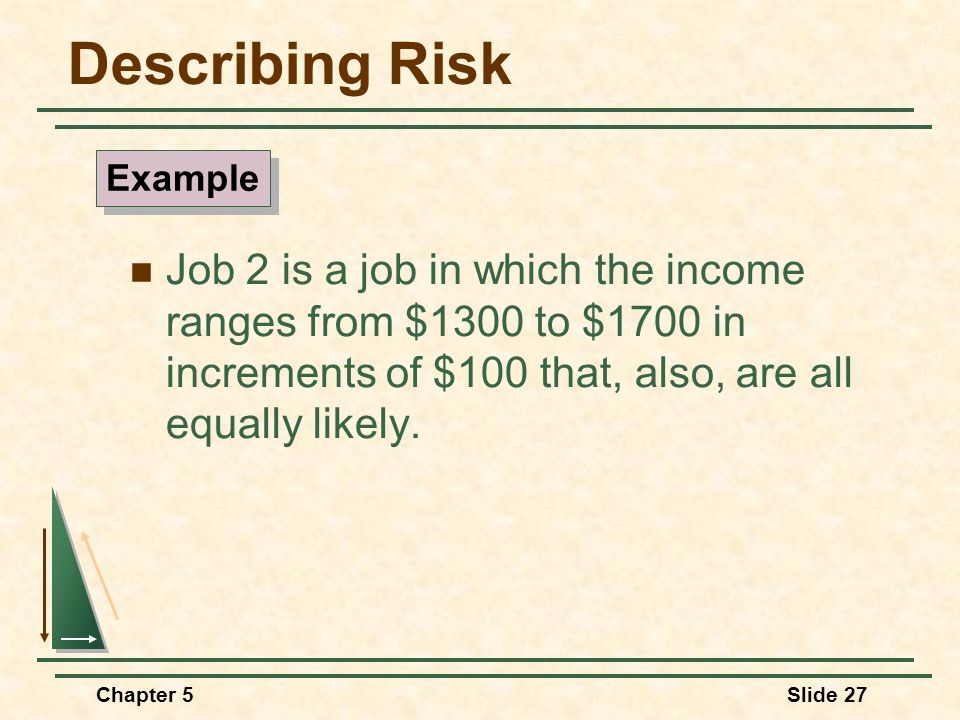 Describing Risk Example. Job 2 is a job in which the income ranges from $1300 to $1700 in increments of $100 that, also, are all equally likely.