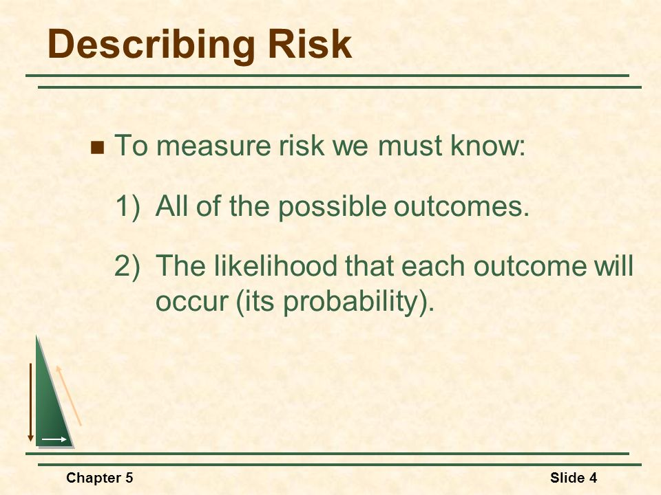 Describing Risk To measure risk we must know: