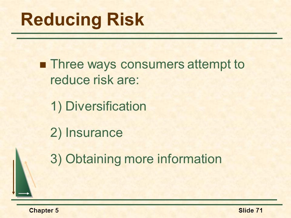 Reducing Risk Three ways consumers attempt to reduce risk are: