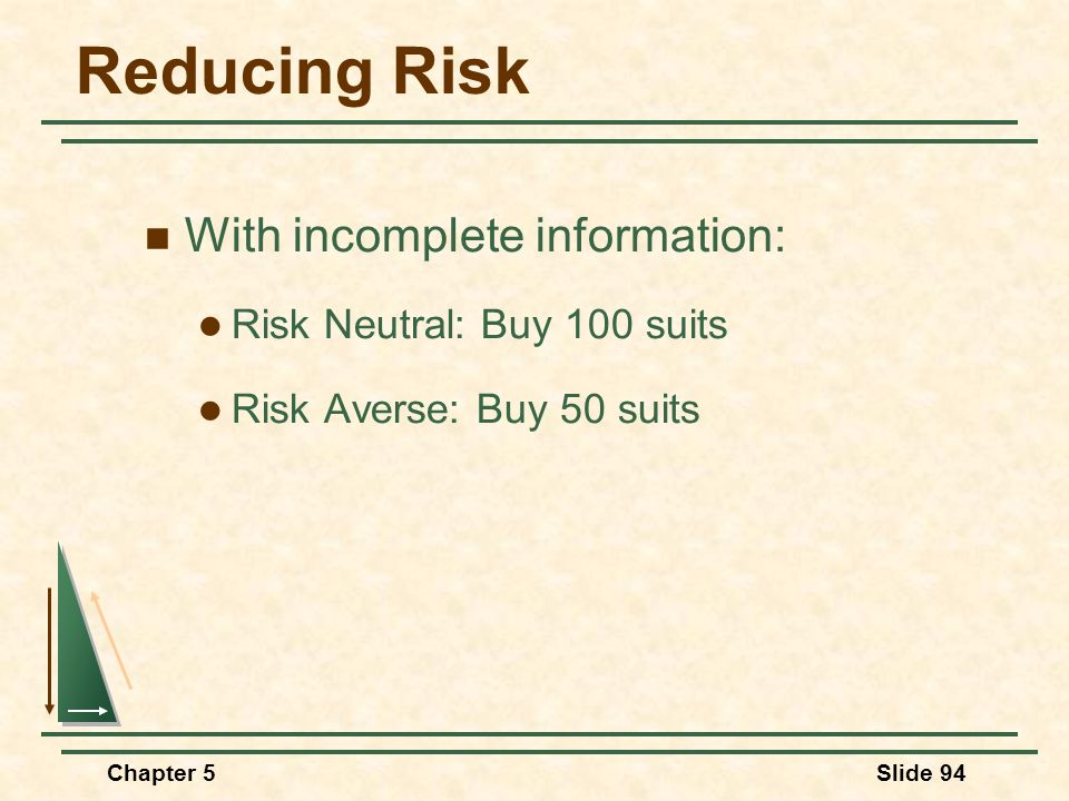 Reducing Risk With incomplete information: Risk Neutral: Buy 100 suits