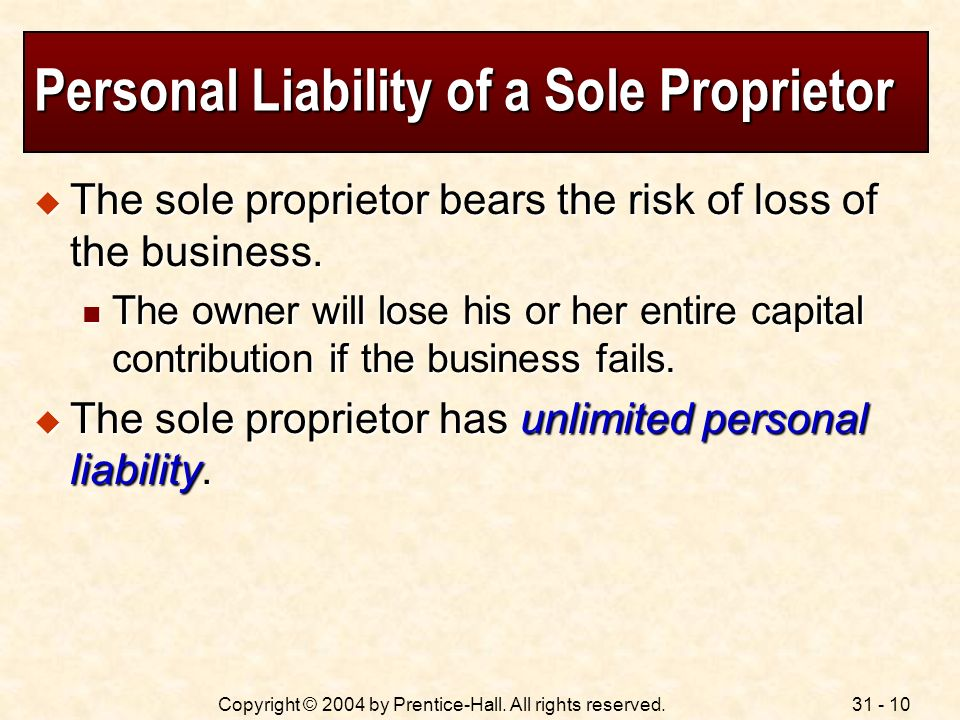 Personal Liability of a Sole Proprietor