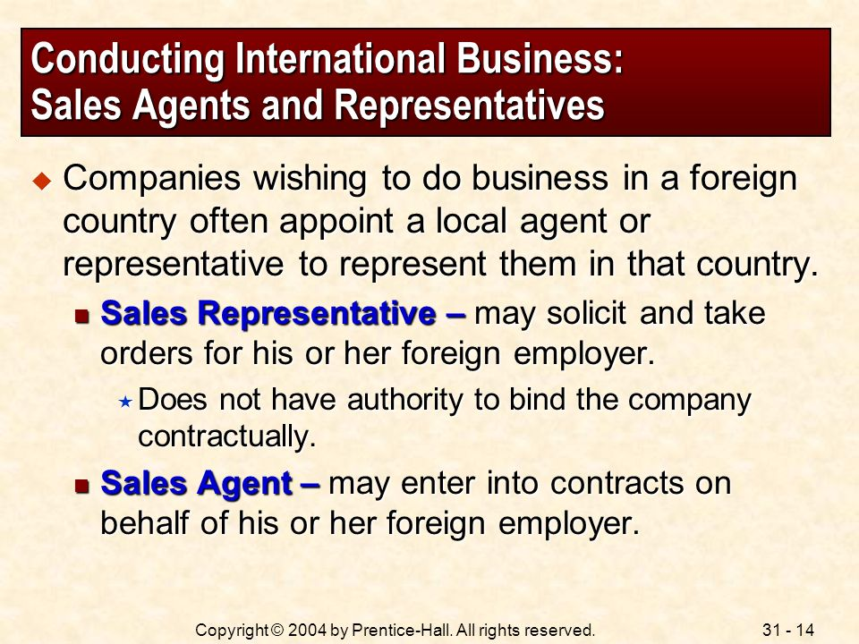 Conducting International Business: Sales Agents and Representatives