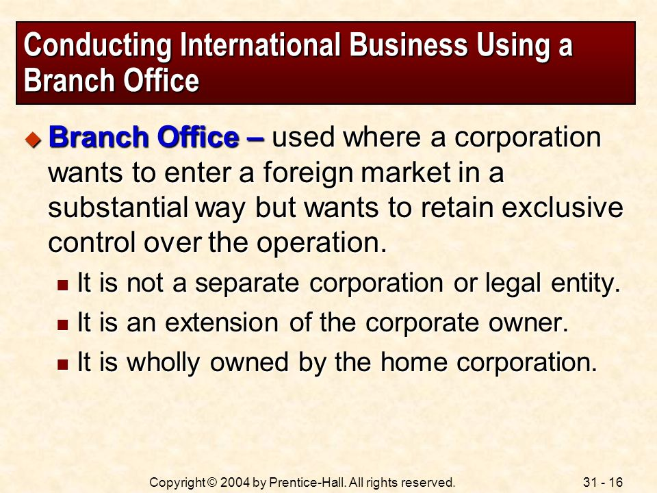 Conducting International Business Using a Branch Office