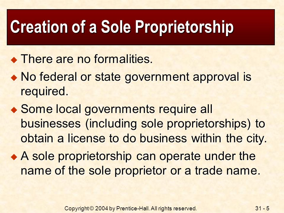 Creation of a Sole Proprietorship