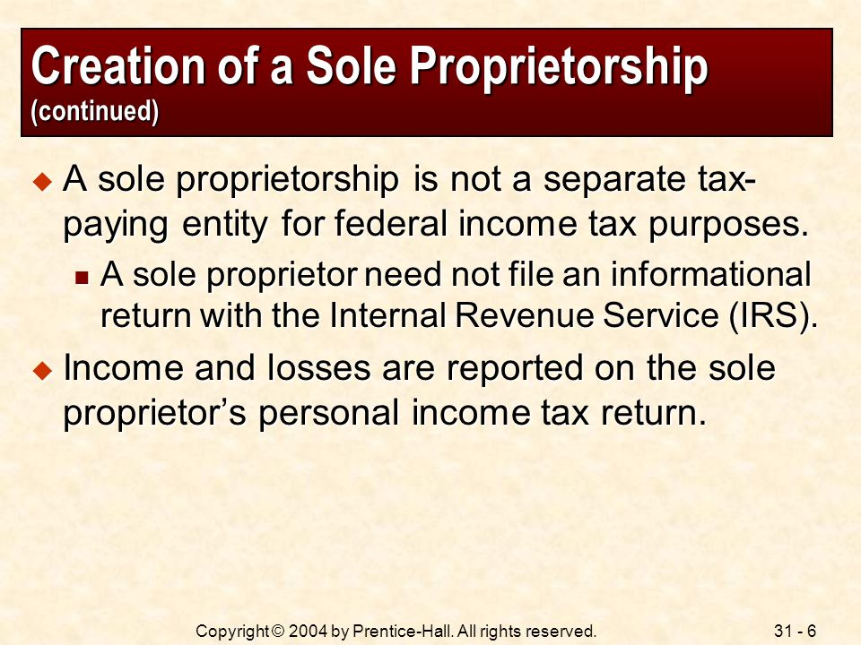 Creation of a Sole Proprietorship (continued)