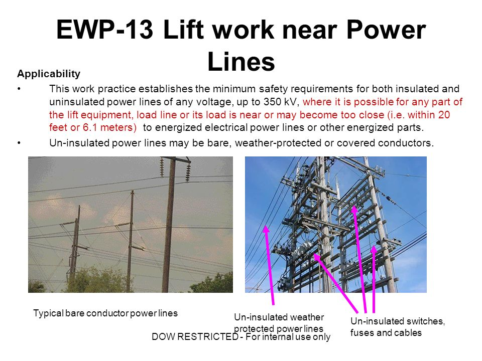 Ewp elevated equipment near power lines us