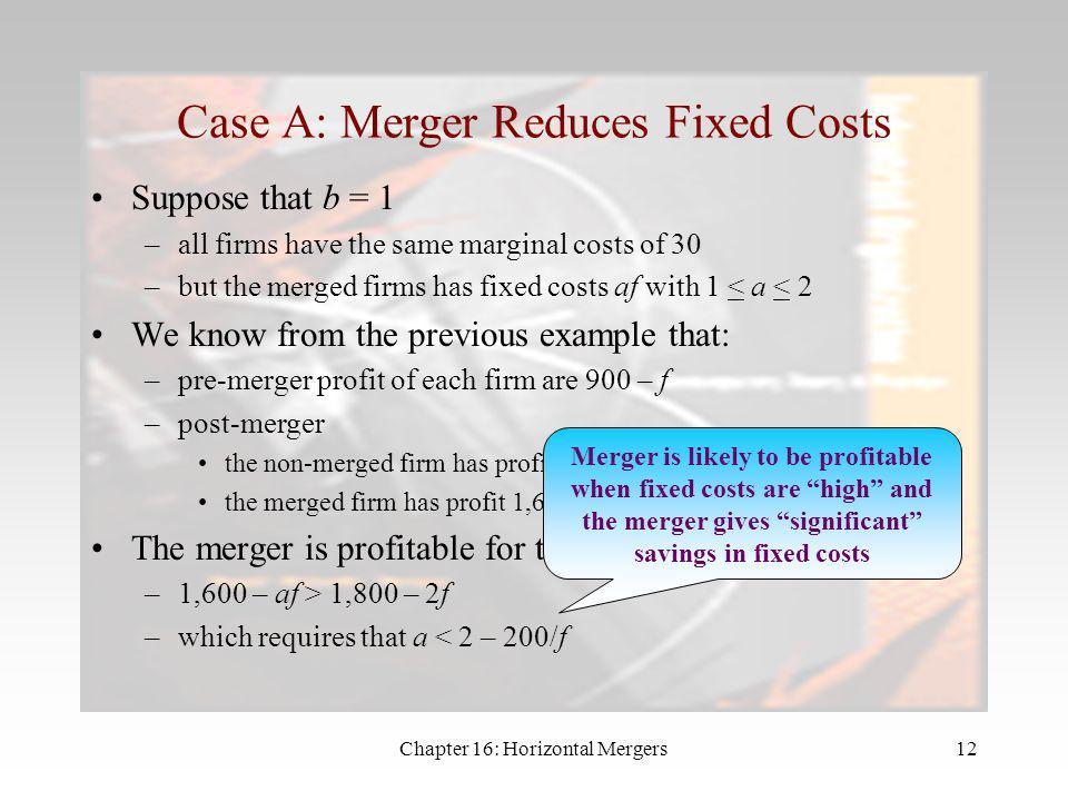 Case A: Merger Reduces Fixed Costs