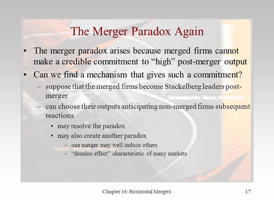 The Merger Paradox Again