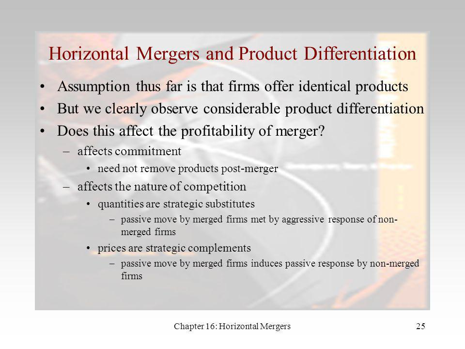 Horizontal Mergers and Product Differentiation