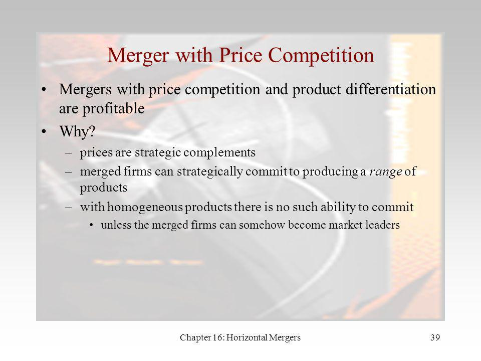 Merger with Price Competition