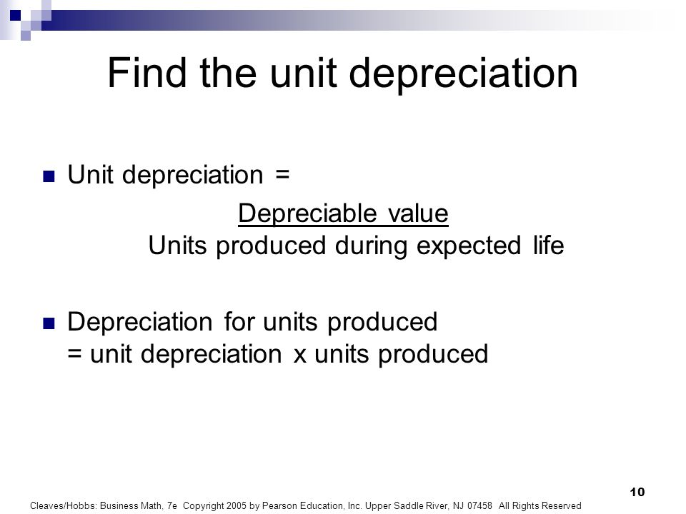 Find the unit depreciation