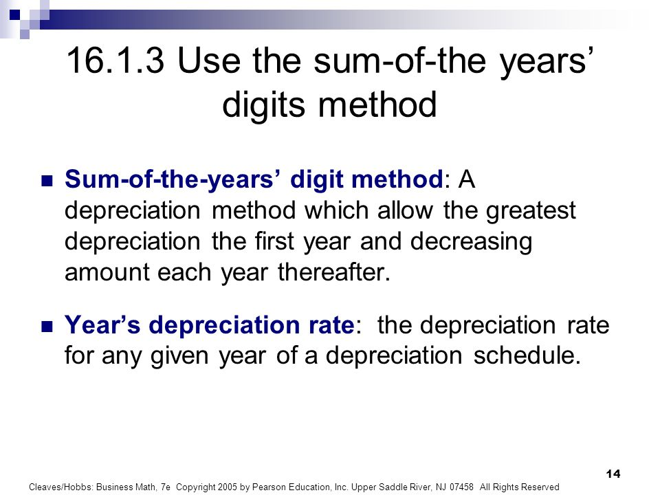 16.1.3 Use the sum-of-the years' digits method