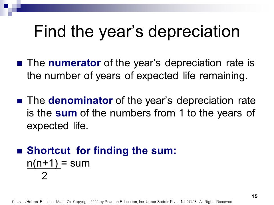 Find the year's depreciation