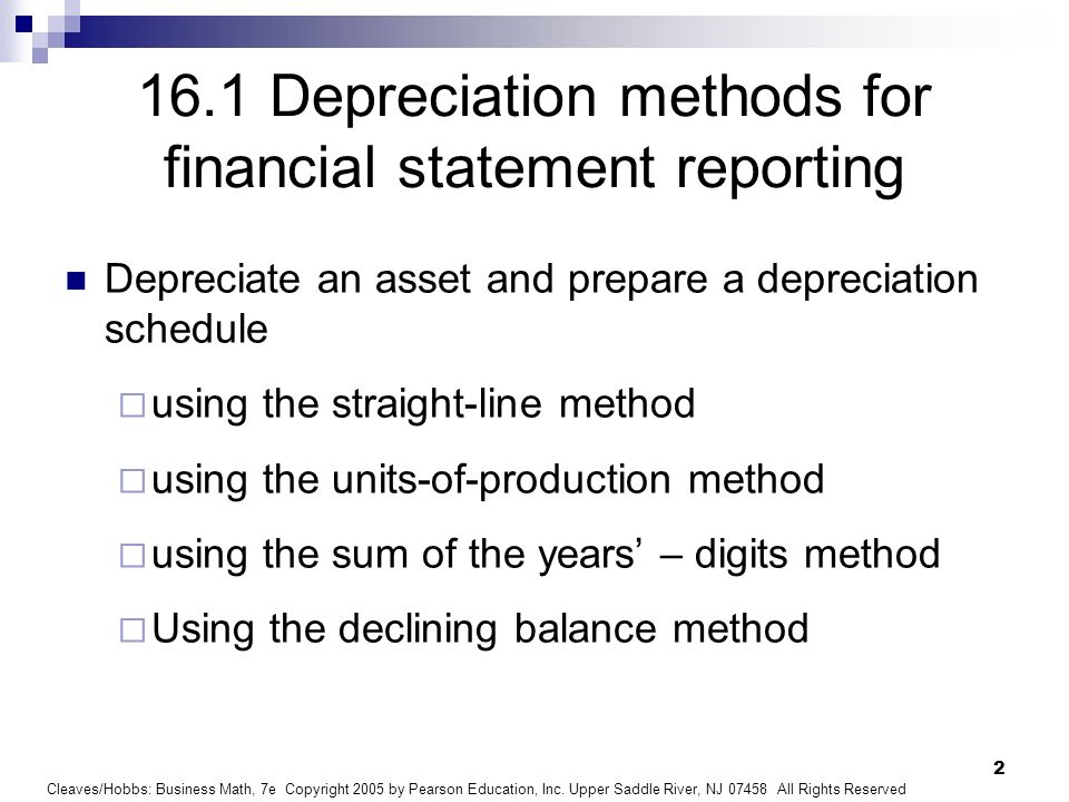 16.1 Depreciation methods for financial statement reporting