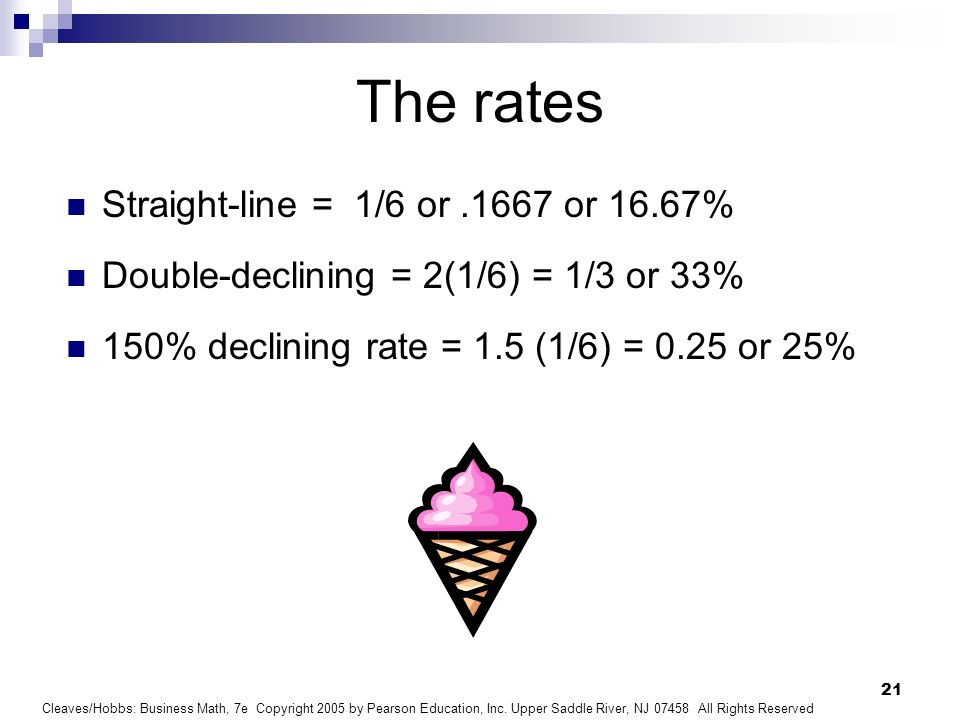 The rates Straight-line = 1/6 or .1667 or 16.67%