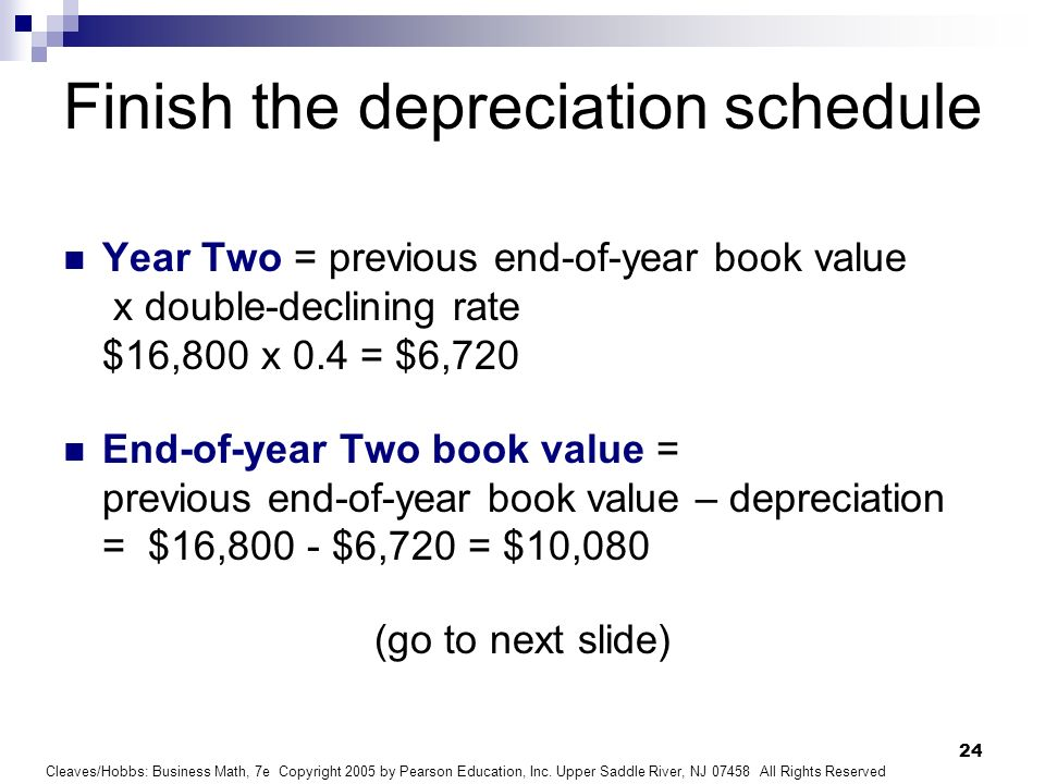 Finish the depreciation schedule