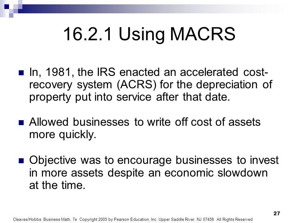 16.2.1 Using MACRS