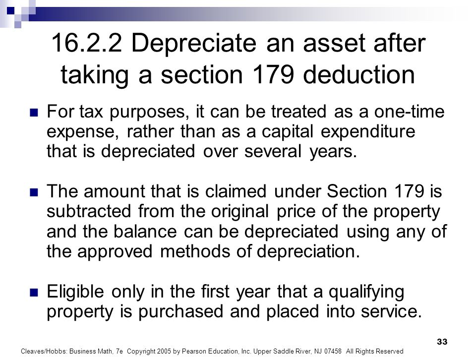 Depreciate an asset after taking a section 179 deduction