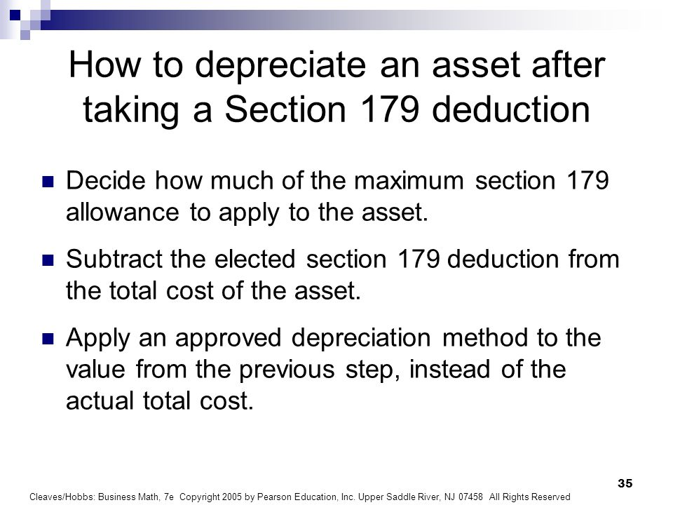 How to depreciate an asset after taking a Section 179 deduction