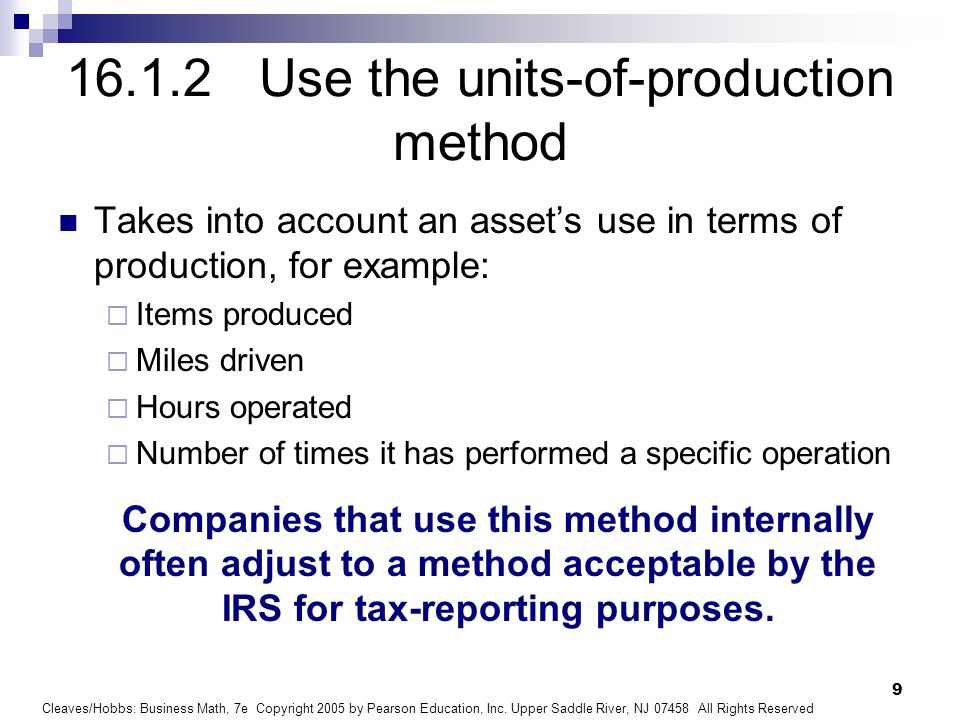 16.1.2 Use the units-of-production method